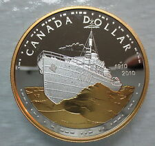 2010 CANADA 100th ANNIVERSARY OF CANADIAN NAVY PROOF GOLD PLATED SILVER DOLLAR