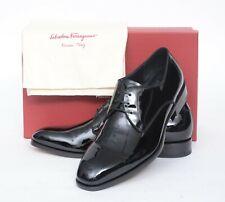 NIB Salvatore Ferragamo Charles Jet Black Patent Calf Leather Derby Shoes 11 D
