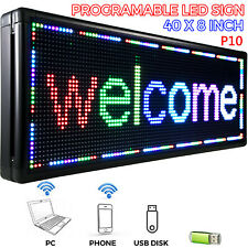 LED Sign 40*8 inch Outdoor Scrolling Message Board 7 Color Programmable Wifi RGB