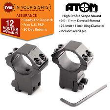 Pair of Aluminium 25mm rifle scope mount rings to fit airgun 11mm dovetail rails
