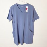 Eileen Fisher Medium Periwinkle Blue Tee Shirt Dress Stretch Cotton Artsy