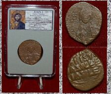 Ancient Byzantine Empire Coin JOHN I JESUS CHRIST Holding Gospels Bronze Follis