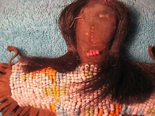 NATIVE AMERICAN INDIAN  DOLL...BEADED LEATHER DOLL WITH REAL HAIR
