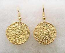 Boucles d'oreilles monnaie médiévale (quarter-noble), or plaqué, british made, coffret cadeau