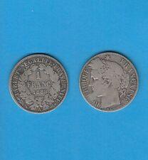 Gertbrolen 1 Franc Argent Type Cérès  Silver Coin  1888 Paris