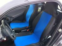 1+1 BLUE- BLACK FABRIC SEAT COVERS TAILORED FOR SMART CITY COUPE FORTWO