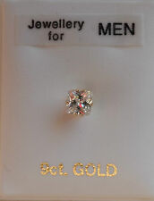 9ct GOLD Stud Earring 4mm Square created Diamond Men's Boy's Women's UK Made