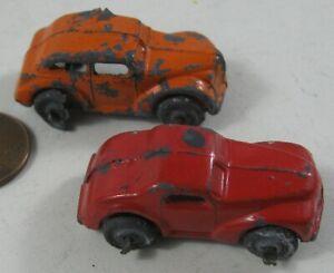 2 Vintage 1930's Cast Lead Miniature Car Hauler Cars Tootsie Toy