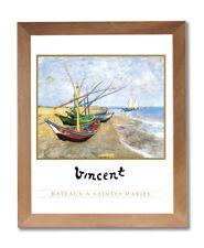 Vincent Van Gogh Lake Beach Sailboat Wall Picture Honey Framed Art Print