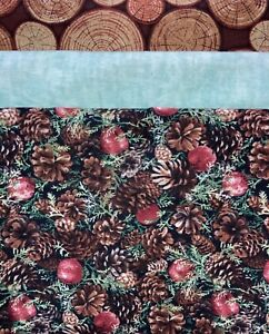 """Quilt, Sew, Fabric Kit Stepping UP 45 1/2 """" x 60 1/2""""  Pinecones #2"""