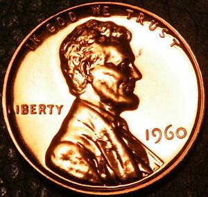 1960 Gem Proof Lincoln large Date Memorial Pennies Cents in US Coin