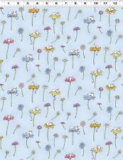 Clothworks Daisy Daisy by Anita Jeram Y2654 87 Lt Denim Daisy & Mouse Cotton