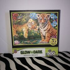 """""""A WATCHFUL EYE"""" Glow in the Dark Hidden  Images 500 PC Puzzle - Tiger Cubs NEW"""