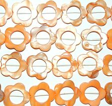 MP1270L Orange 25mm Flower Open Donut Mother of Pearl Shell Beads 16""