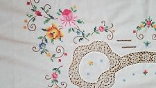 "Colorful Hand APPLIQUED, EMBROIDERED & CROCHETED 48x64"" Oblong Tablecloth 146-23"
