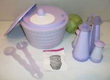 Tupperware NEW Lilac PURPLE Impressions Spin n Save Salad Spinner ~S&P Cruet Set