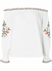 NEW LADIES Ivory Embroidered Frill Bardot Top DOROTHY PERKINS SIZE 12 RRP £28