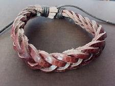 (2) Leather Bracelets Unisex Men Women Handmade Stretchy Adjustable