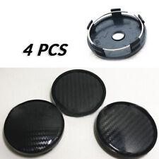 4* Black Carbon Fiber Look 60mm Car Wheel Hub Center Caps Cover ABS Plastic