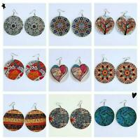 Wooden Round Flowers Earrings Colorful Stud Dangle New Jewelry Drop Ethnic G5R0