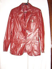 Vintage Women Etienne Aigner Burgundy Leather Coat Jacket Size 10 ~ Blazer