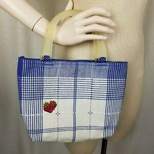 Canvas Blue Plaid Strawberry Mini Tote Bag Purse Handbag Small Celluloid Handle