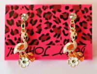 Betsey Johnson Crystal Rhinestone Enamel Stud Earrings Flamingo