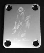 Engraved Photo Etched GUITAR NECK PLATE - GREGG ALLMAN - CHROME