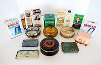 Vintage Medicine Tins Bottles 15 Pc Lot Pine Tar Sloans Decillin DeWitt Rawleigh