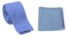 High Quality Men's Fashion Knit Knitted Tie+Hankerchief Set Slim Hanky Woven UK