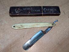Vintage French Carmen Le Veritable Rasoir Straight Shaving Razor & Original Box
