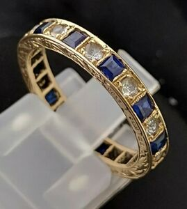 Vintage 9ct Yellow Gold Sapphire & Cubic Zirconia Full Eternity Band 1965 2.5g
