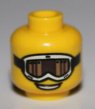 Lego Yellow Minifig Head Glasses White Ski Goggles Tan and Brown Glass