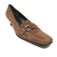 Women's Stuart Weitzman Side Bit Pump Heels Shoes Size 7.5 Brown Suede R10