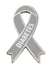 PinMart's Diabetes Grey Awareness Ribbon Enamel Lapel Pin