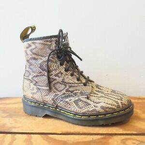 8 - Dr Martens Rare Snakeskin Pattern Leather Made in England Boots NEW 0425SV