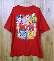 RETRO DISNEY T SHIRT SIZE USA XL RED MICKEY MOUSE 2011 SHORT SLEEVE OFFICIAL TOP