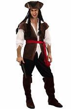 Pirate Caribbean Man Costume Mens Fancy Dress Jack Sparrow Inc Hat Dreadlocks M