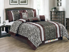 11 Faux Fur Safari Striped Zebra Giraffe Comforter Curtain Set Coffee Brown King