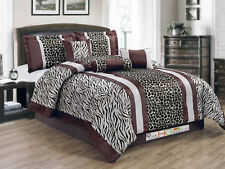 7-P Faux Fur Safari Double Striped Zebra Giraffe Comforter Set Coffee Brown King