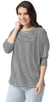 AnyBody Loungewear Plus 3X Cozy Knit Striped Dolman Sleeve Top Black Cream