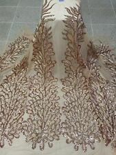 """NUDE MESH W/PEACOCK EMBROIDERY RHINESTONE SEQUINS FABRIC 50"""" WIDE 1 YD"""