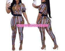 Sexy Women Bodysuit Tracksuit Gold Chain  Striped Print Short Sleeve Jumpsuit #J