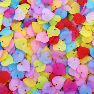 40Pcs 15mm Transparent Leaf Frosted Acrylic Beads DIY Jewelry Acces Wholesale