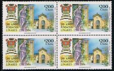 CHILE 1994 STAMP # 1659 MNH BLOCK OF FOUR LINARES CITY CHURCH ARCHITECTURE