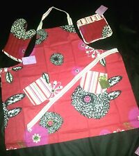 CAPRICE BBQ COOKS FLORAL BIB APRON NWT RED BURGUNDY WITH POCKETS