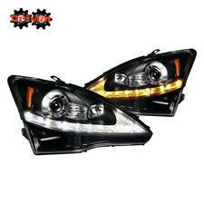 06-09 Lexus IS250/350 LED DRL Switchback Turn Signal Projector Headlights Black
