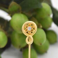 10k Yellow Gold Antique Swirl Open Work Moonstone Stick Pin