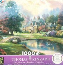 """Thomas Kinkade """"Lakeside Manor"""", 1000 Piece Jigsaw Puzzle W/ Bonus Poster."""