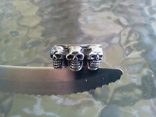 GOTHIC 2 MOTORCYCLE SKULL COLLECTIBLE PEWTER RINGS with 3 SKULL HEADS ALL NEW.